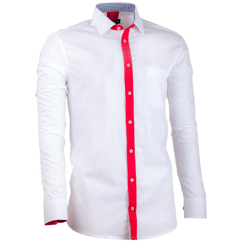 Prodloužená pánská košile bílá s červenou regular fit Assante 20720