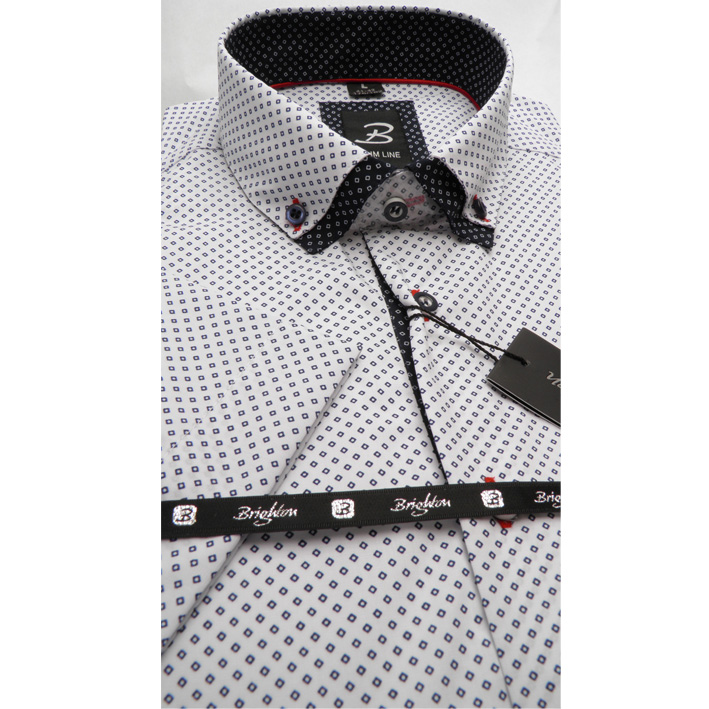 Bílá pánská košile krátký rukáv vypasovaný střih Brighton 110087
