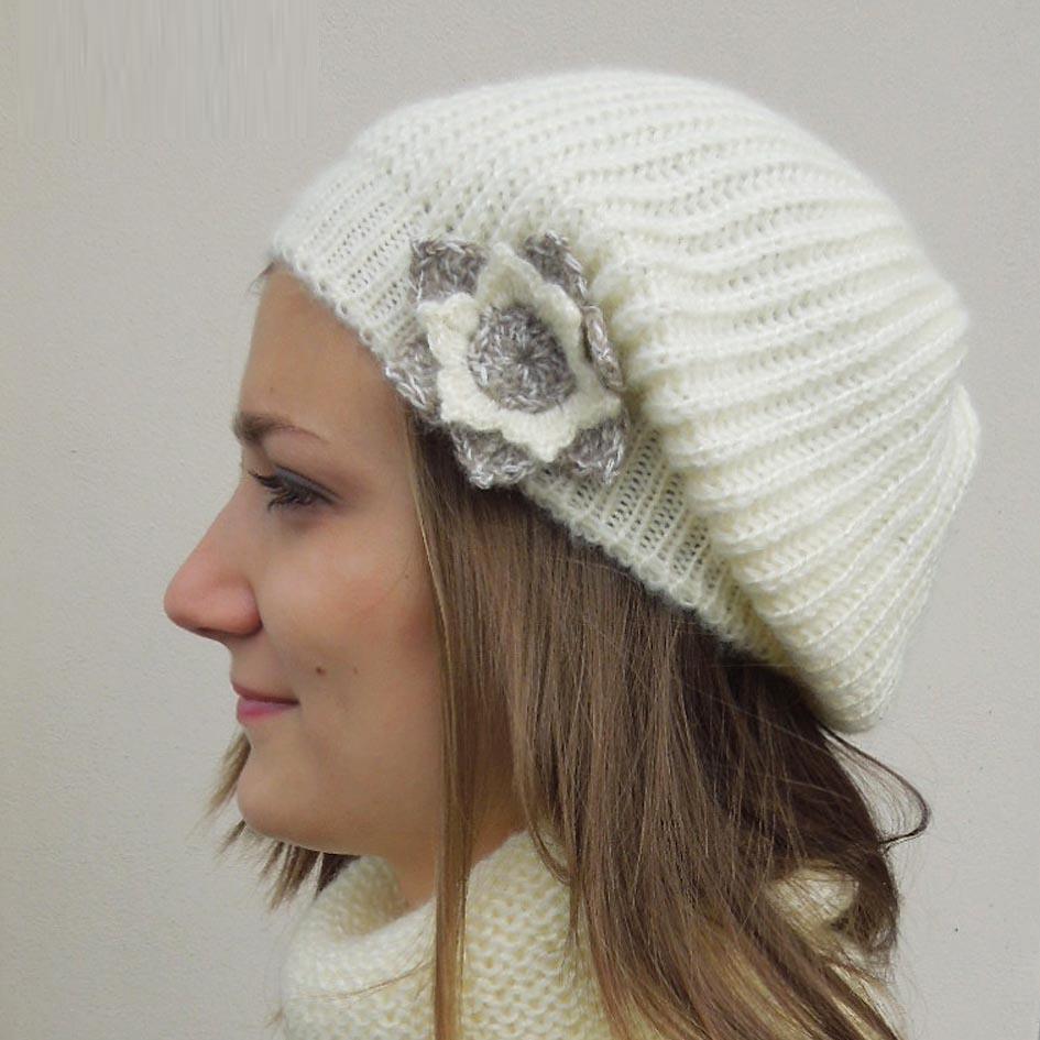 Smetanová úpletová čepice zimní Pletex 88242