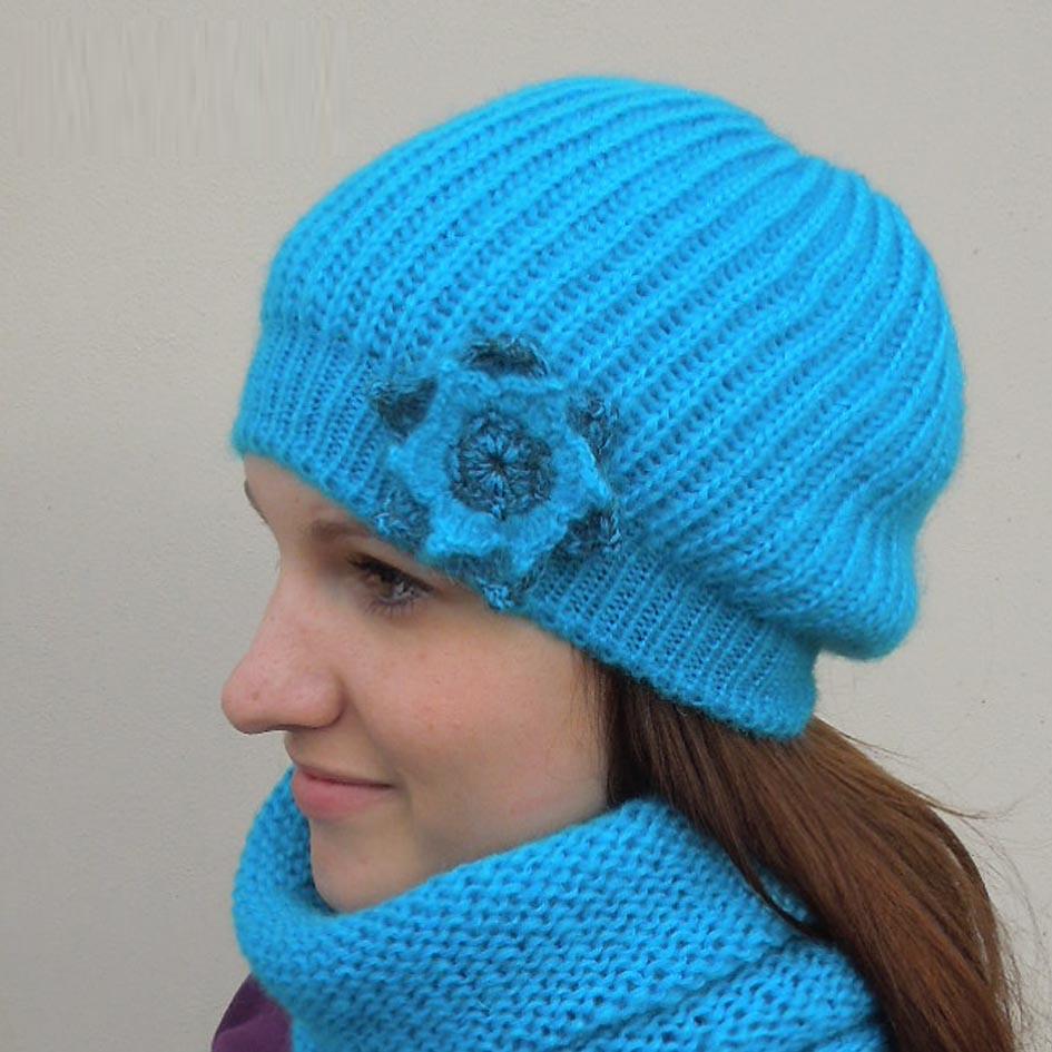 Modrá úpletová čepice zimní Pletex 88246