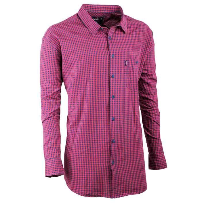Červená nadměrná pánská košile dlouhý rukáv 100 % bavlna Tonelli 110905