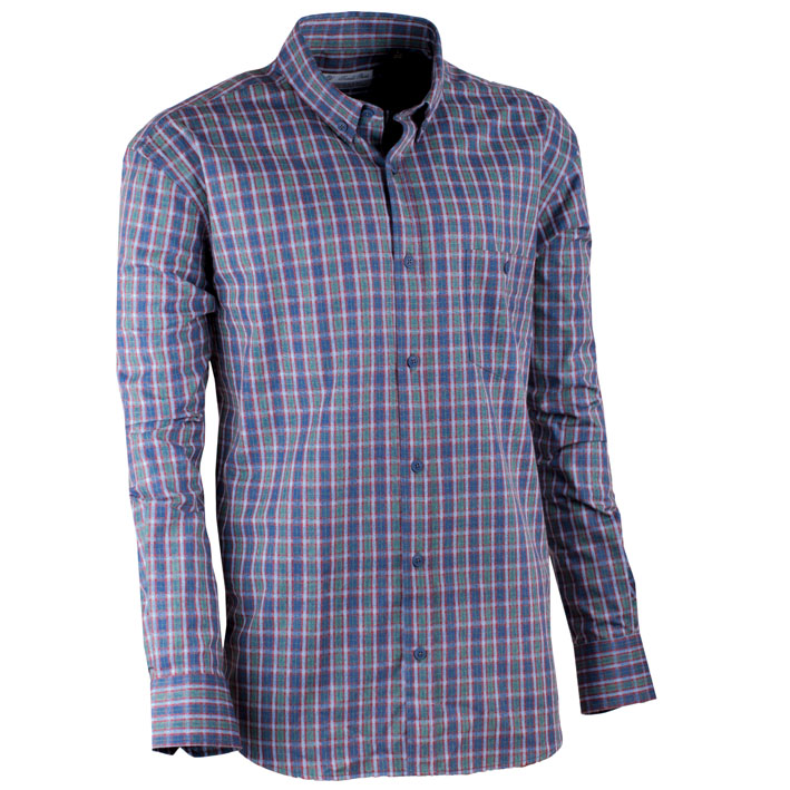 Zeleno-modrá luxusní pánská flanelová košile teplá Tonelli 110910