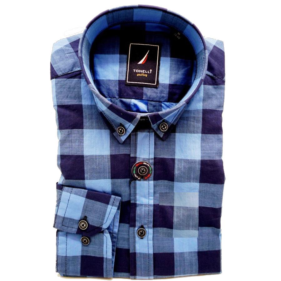 Modrá pánské košile dlouhý rukáv rovný střih Tonelli 110912