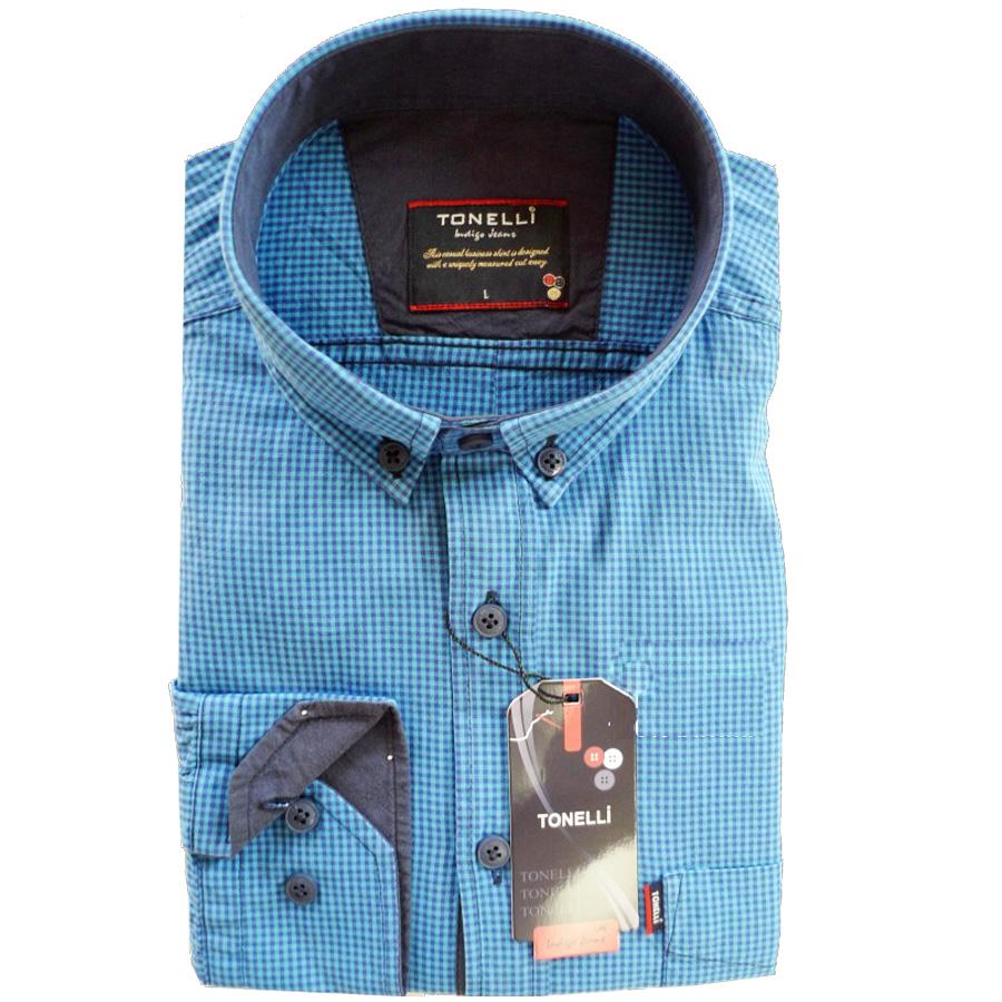 Modrá pánské košile dlouhý rukáv rovný střih Tonelli 110914