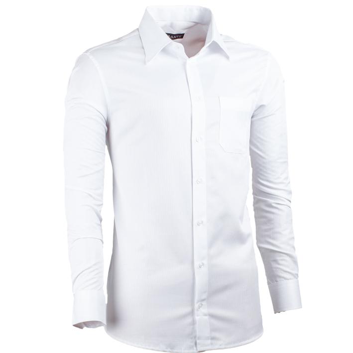 Pánská košile v prodloužené délce slim fit bílá Assante 20017