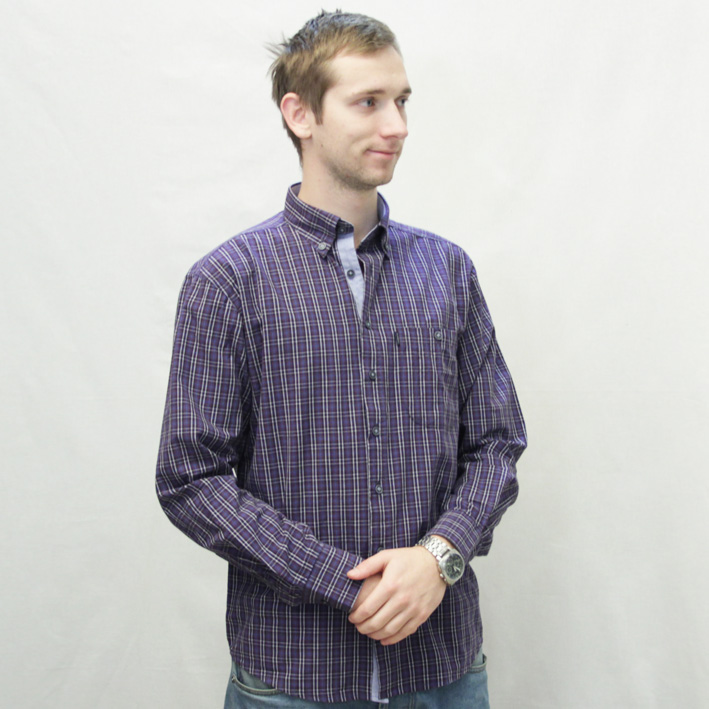 Modrá pánské košile dlouhý rukáv rovný střih Tonelli 110926