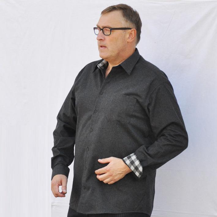 Šedá pánská košile s dlouhým rukávem slim fit Assante 30792