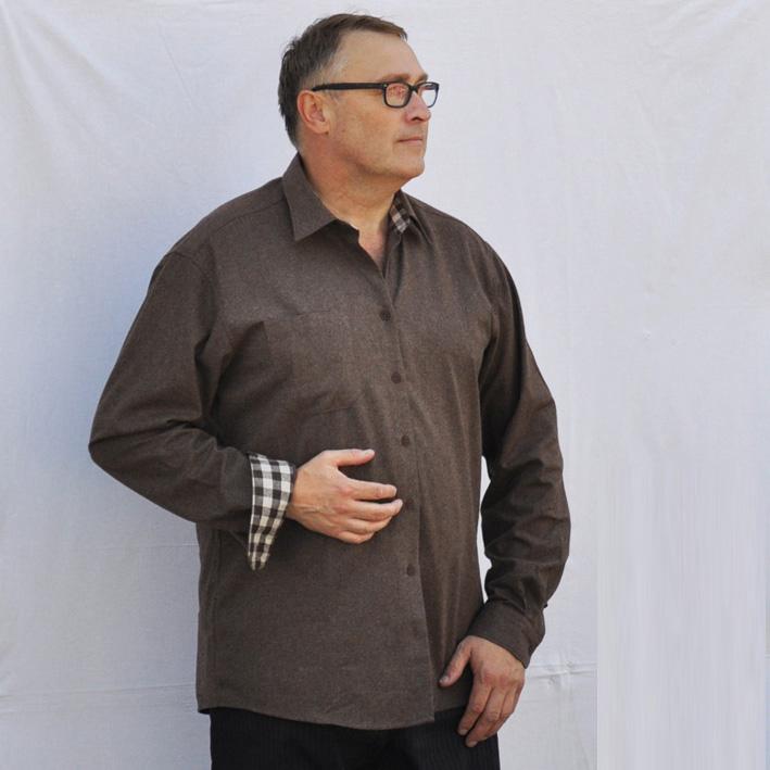 Luxusní pánská košile flanelová hnědá Assante 30796