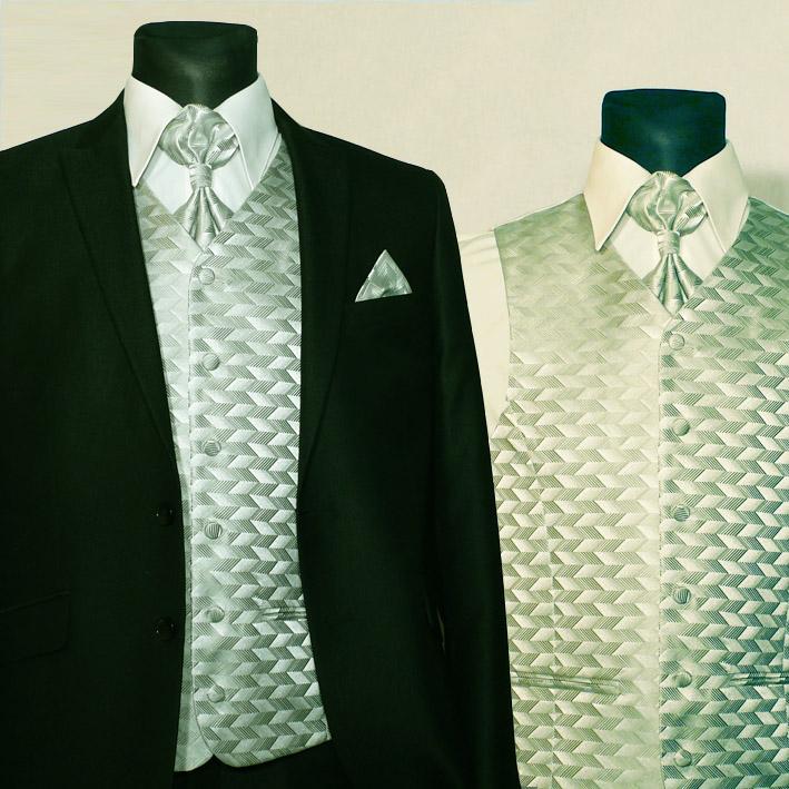 Zelená svatební souprava, vesta kravata regata kapesníček. Assante 90650