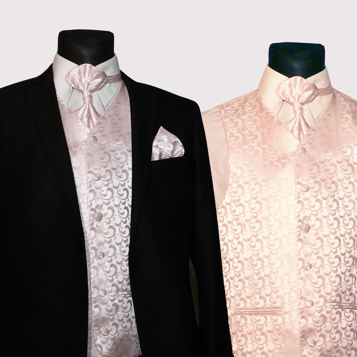 Růžová svatební souprava, vesta kravata regata kapesníček. Assante 90651