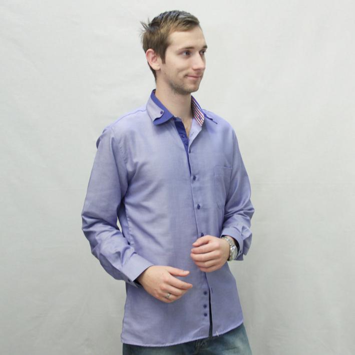 Modrá pánská košile dlouhý rukáv vypasovaný střih Brighton 110029