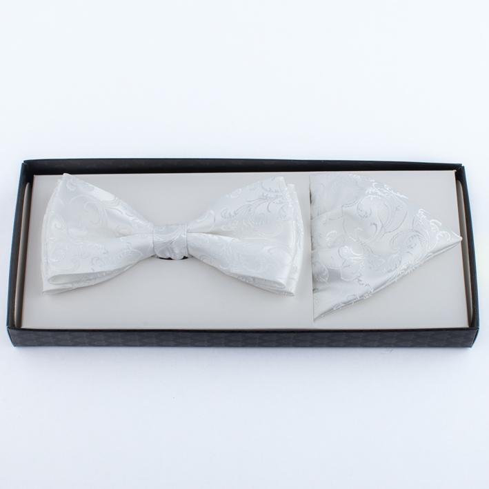 Smetanový svatební pánský motýlek s kapesníčkem Assante 90344