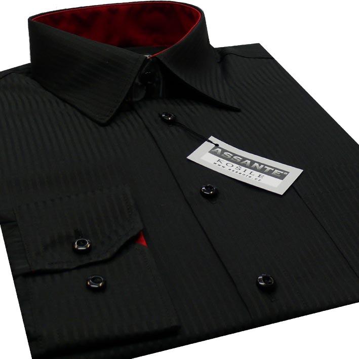 Černá pánská košile s dlouhým rukávem slim fit Assante 30114