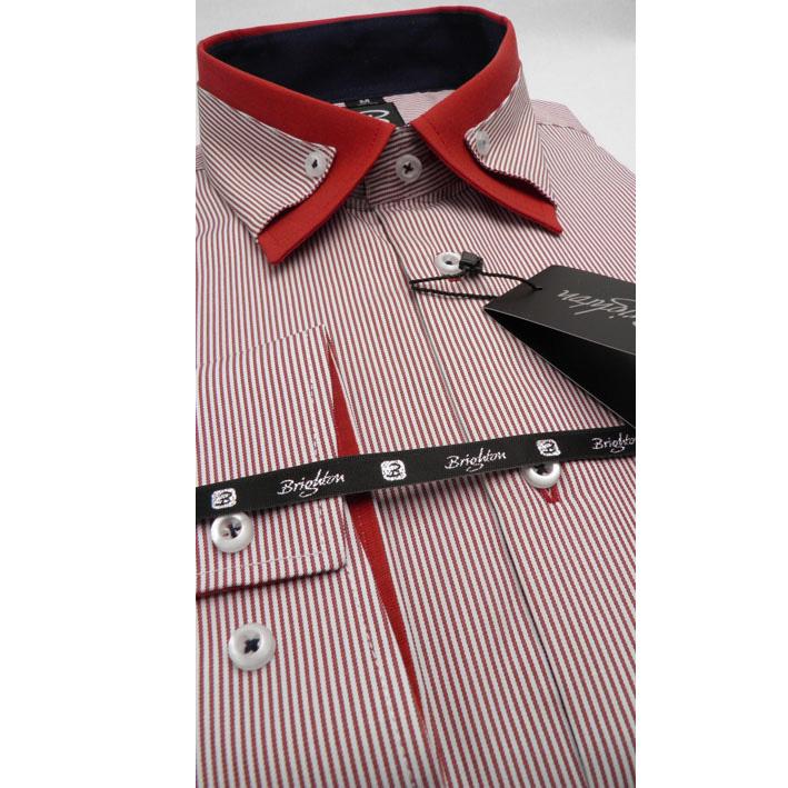 Červená pánská košile dlouhý rukáv vypasovaný střih Brighton 110045