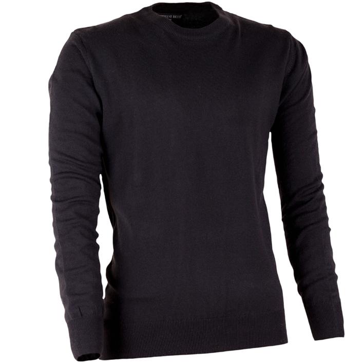 Pánský černý svetr tenký kulatý výstřih Giovane Ricco 51000