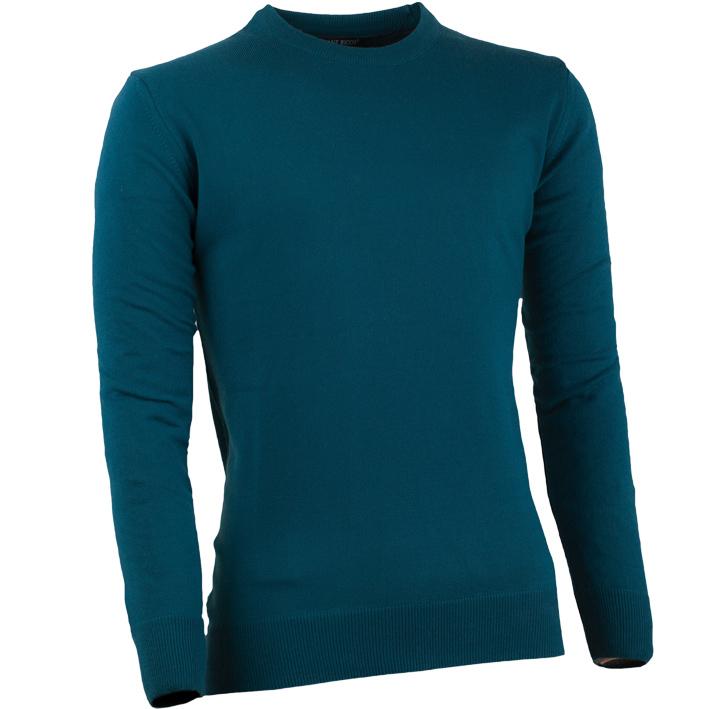 Pánský svetr ke krku tenký v petrolejové barvě Giovane Ricco 51001
