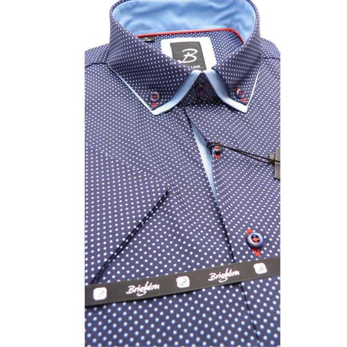 Modrá pánská košile krátký rukáv vypasovaný střih Brighton 110067