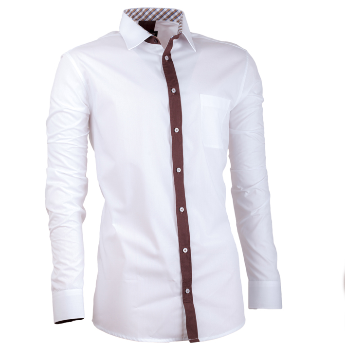 Bílá pánská košile s dlouhým rukávem slim fit Assante 30685