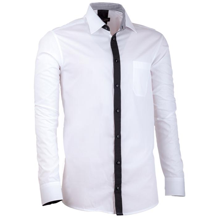 Bílá pánská košile s dlouhým rukávem slim fit Assante 30688