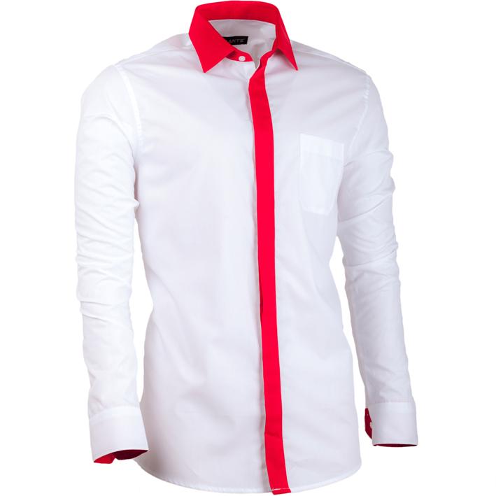 Bílá pánská košile s dlouhým rukávem slim fit Assante 30690