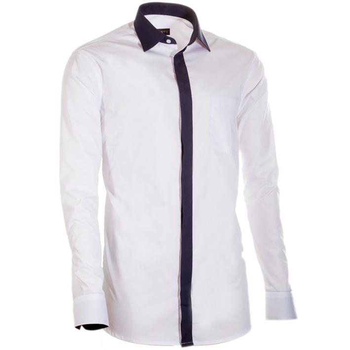 Bílá pánská košile s dlouhým rukávem slim fit Assante 30692