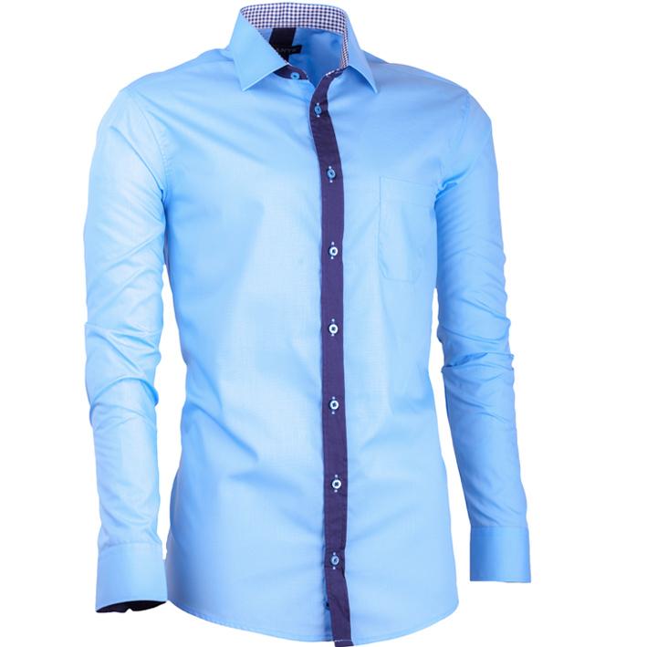 Modrá pánská košile s dlouhým rukávem slim fit Assante 30694