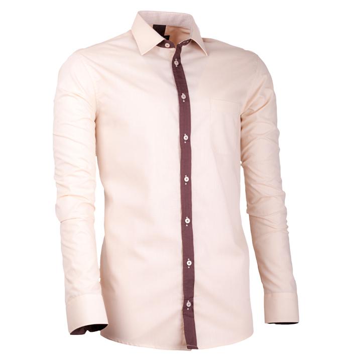 Béžová pánská košile s dlouhým rukávem slim fit Assante 30696