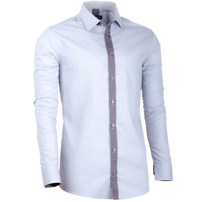Šedá pánská košile s dlouhým rukávem slim fit Assante 30698