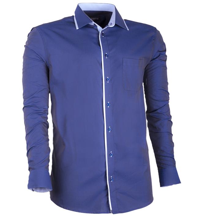 Modrá prodloužená nadměrná pánská košile bílá Assante 21006