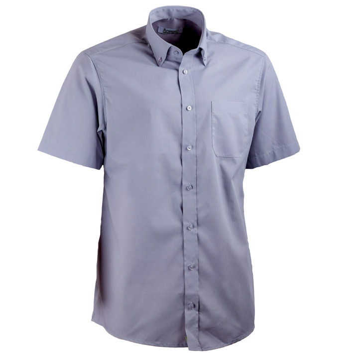 Šedá pánská košile s krátkým rukávem rovná Aramgad 40138