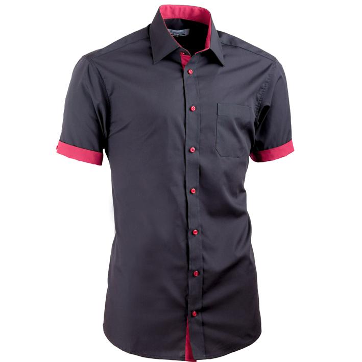 Černá košile Aramgad slim fit kombinovaná 40141