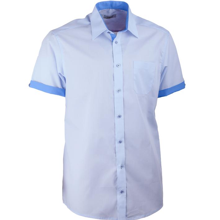 Modrá pánská košile rovná s krátkým rukávem Aramgad 40437