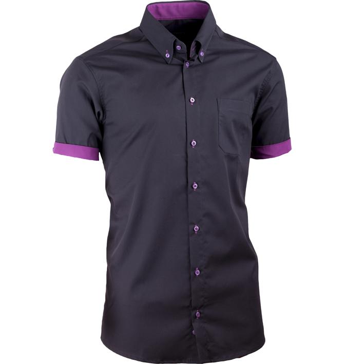 Černá pánská košile slim fit 100 % bavlna non iron Assante 40109