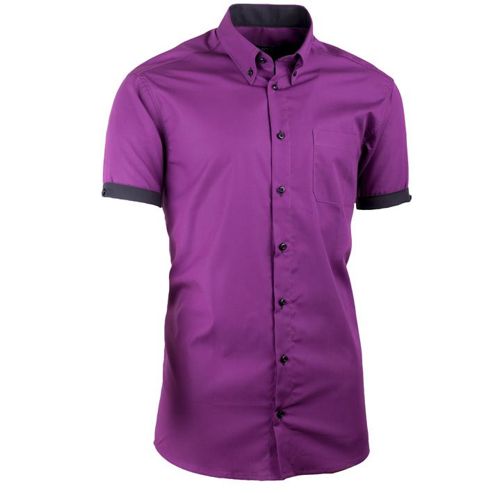 Fialová pánská košile slim fit 100 % bavlna non iron Assante 40325
