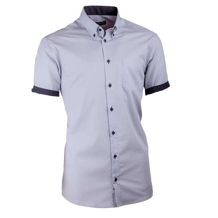 Pánská košile Assante slim šedá s černou 40117