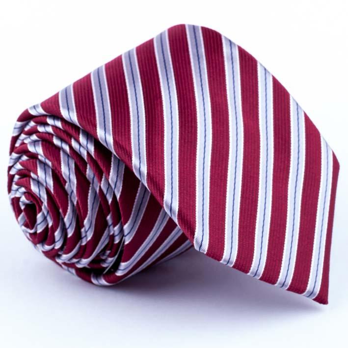 Tmavě červená kravata pruhovaná Greg 93173