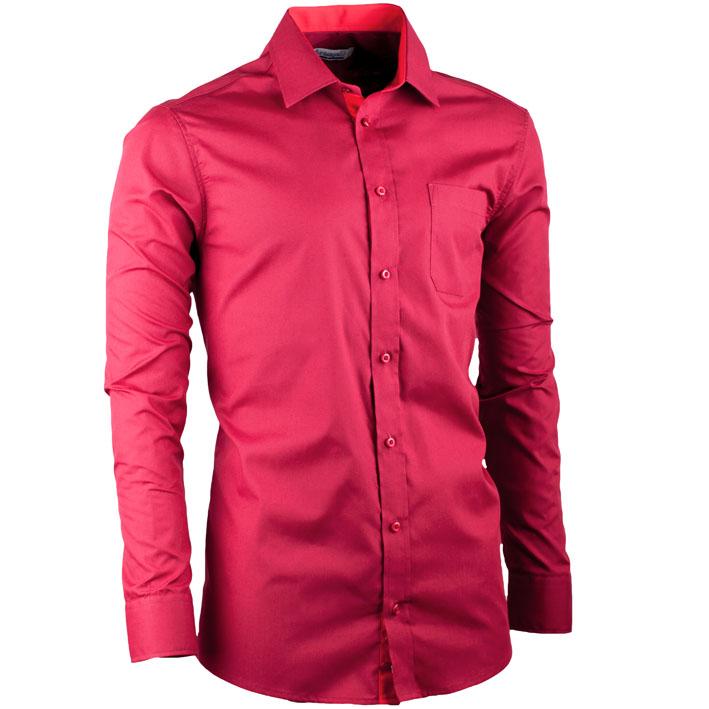 Vínová pánská košile slim fit s dlouhým rukávem Aramgad 30380