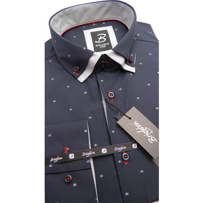 Modrá pánská košile dlouhý rukáv vypasovaný střih Brighton 109956