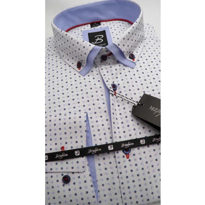 Bílá pánská košile dlouhý rukáv vypasovaný střih Brighton 109957
