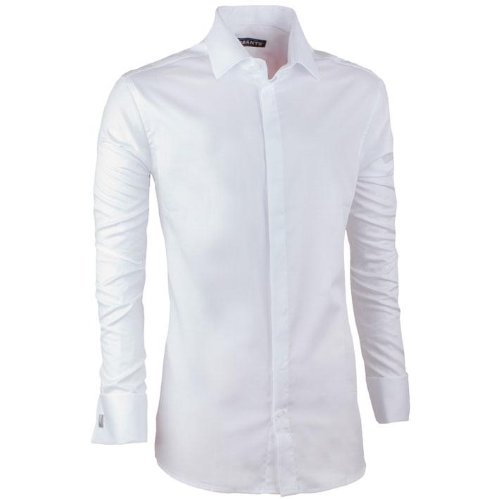 Prodloužená košile na manžetový knoflíček slim fit bílá Assante 20024