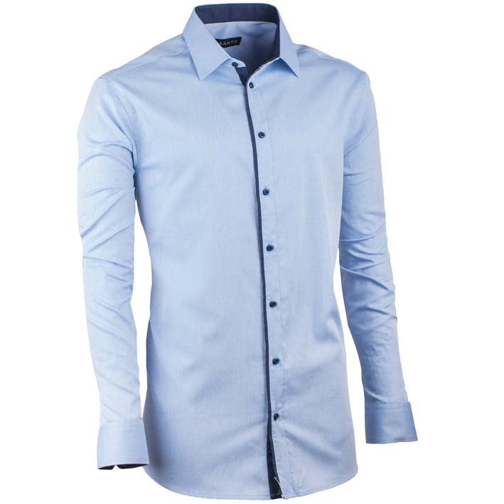 Prodloužená pánská košile slim fit blankytně modrá Assante 20403