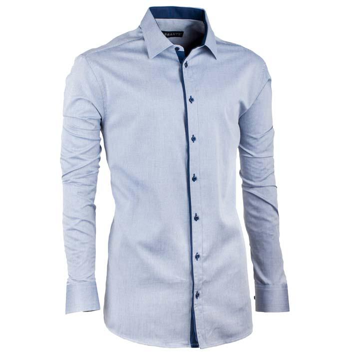 Prodloužená pánská košile šedomodrá Assante 20108