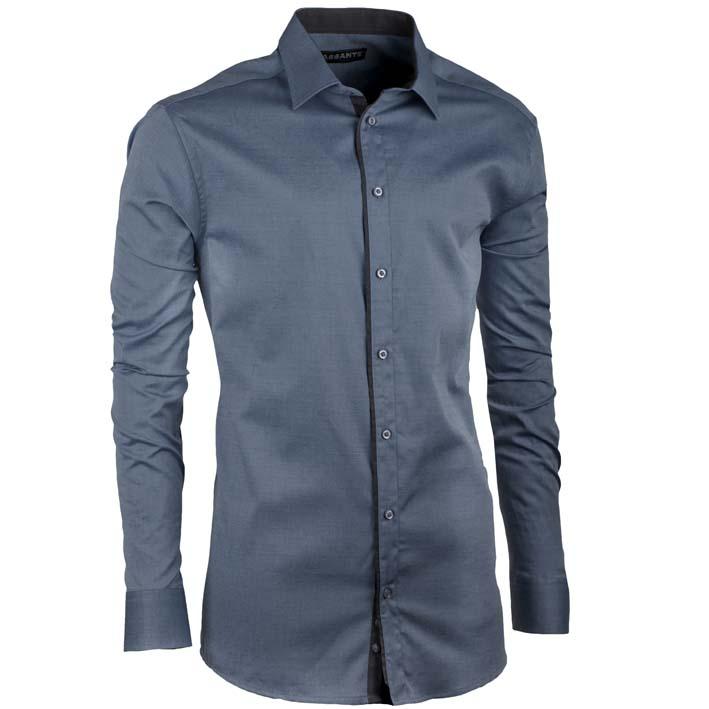 Extra prodloužená pánská košile ocelově modrá slim Assante 20402