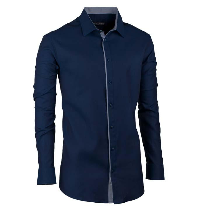 Prodloužená pánská košile slim modrá indigo Assante 20405