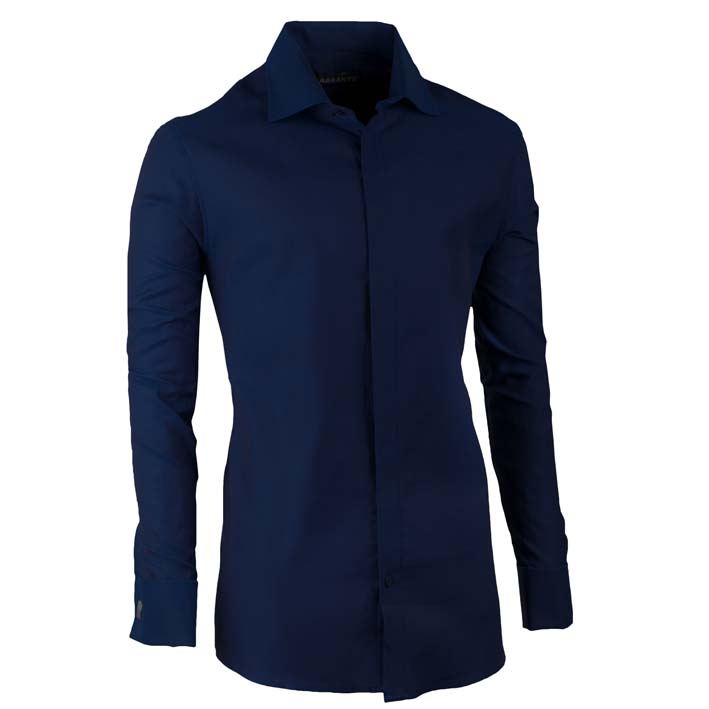 Košile na manžetový knoflíček slim modrá indigo Assante 30429 velikost 39/40 (M)