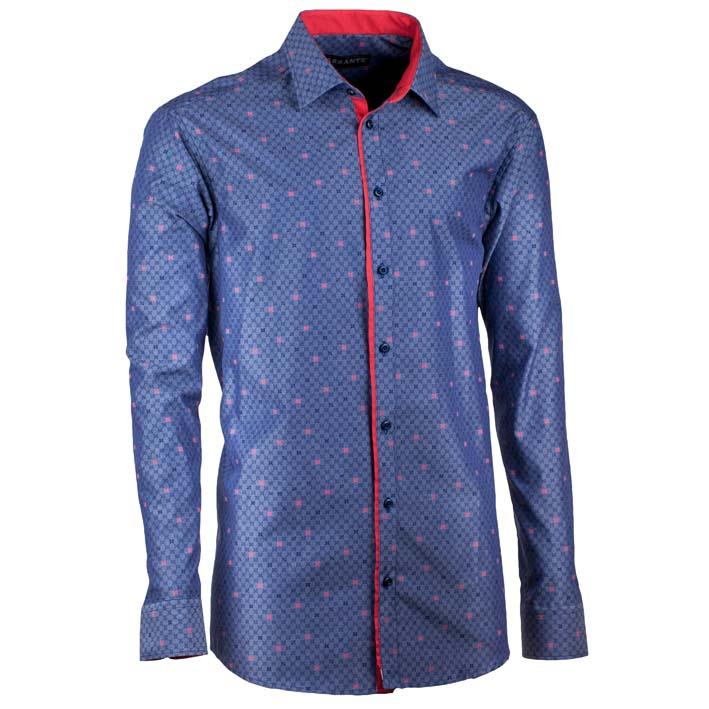 Luxusní nadměrná pánská košile modro červená Assante 31096