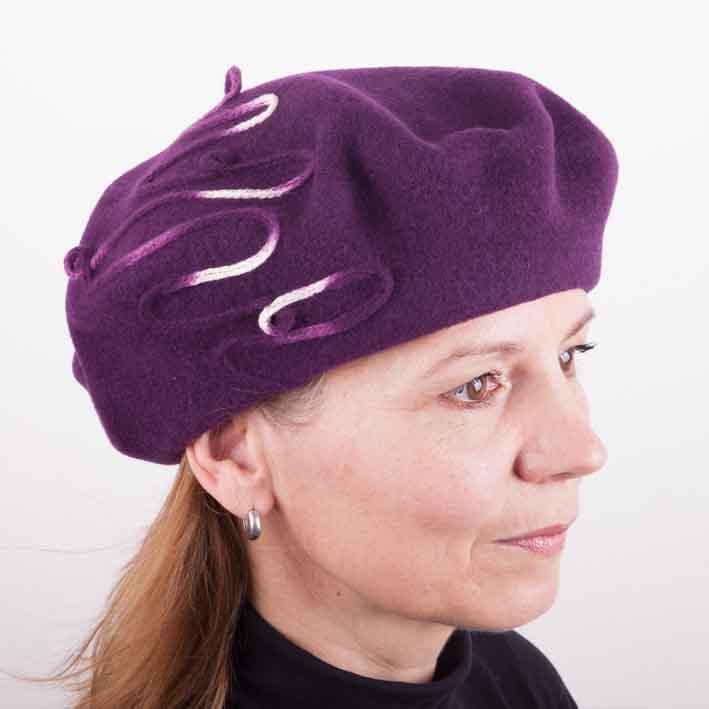 Fialový dámský elegantní baret Tonak 87225
