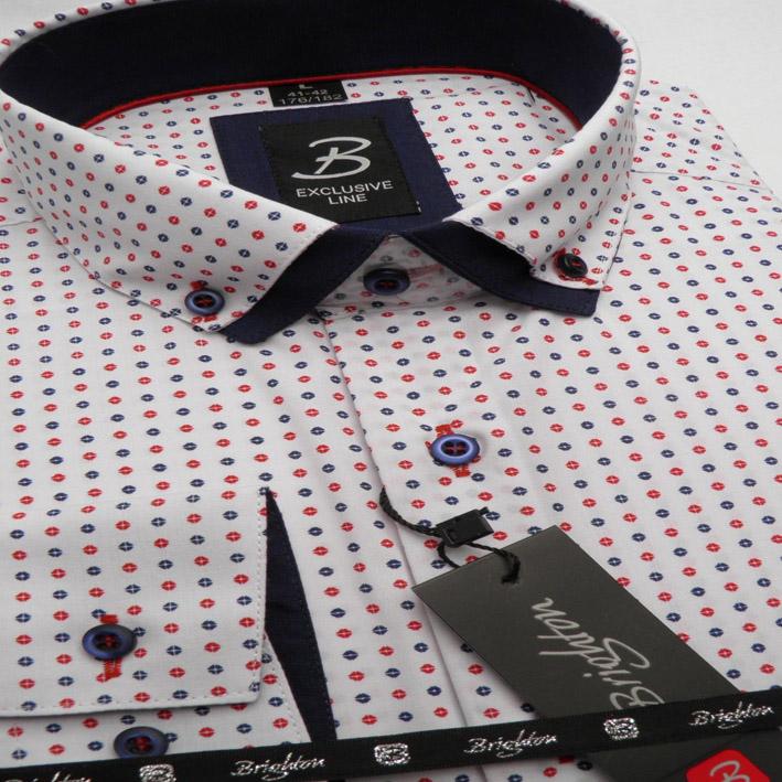 Bílo červeno modrá pánská košile dlouhý rukáv s dvojitým límcem  Brighton 109965
