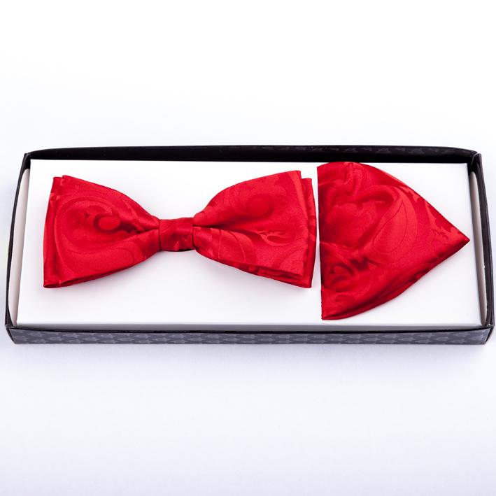 Ohnivě červený pánský motýlek s kapesníčkem Assante 90218