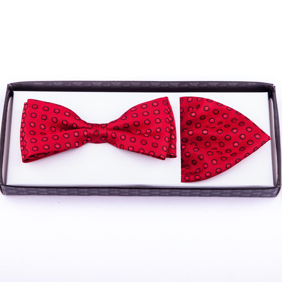 Červený motýlek s puntíky a kapesníčkem Assante 90220